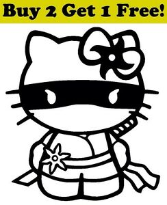 Hello kitty ninja decal sticker car bumper window wall cute cat full image is loading hello kitty ninja decal sticker car bumper window voltagebd Choice Image