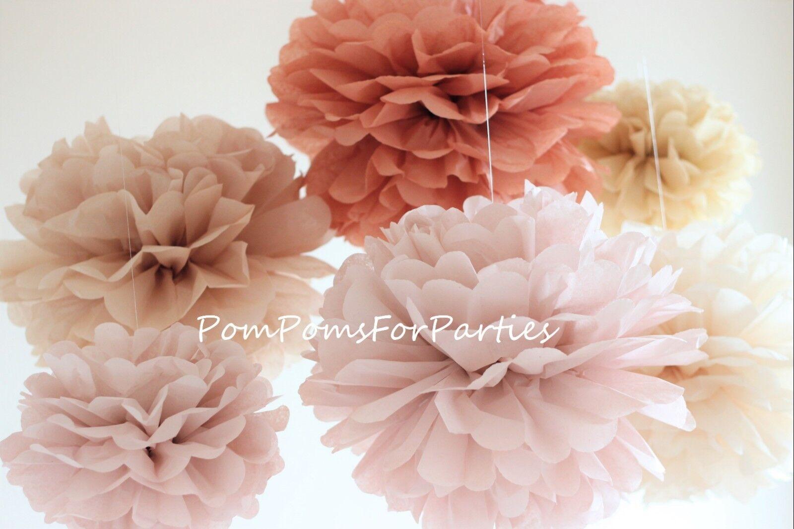 60 units mixed Größe Tissue Paper Pom Poms Wedding Party Baby shower Birthday