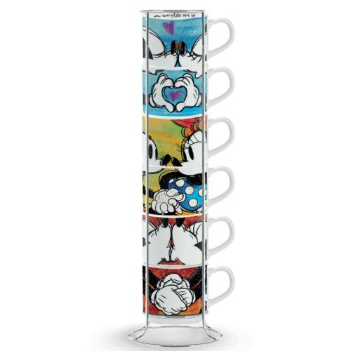 SWEET LOVE 6 tlg Metallrack Mickey /& Minnie EGAN Porzellan Italy Tassen Set