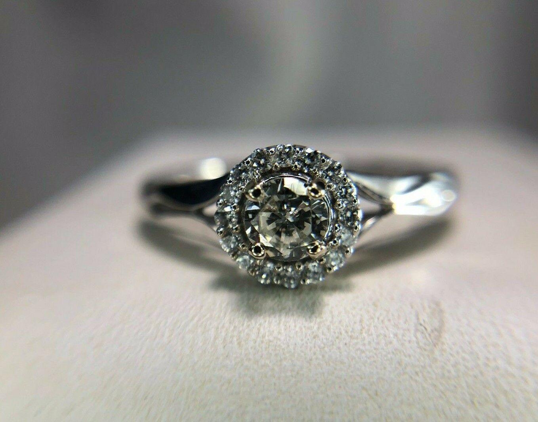 Estate 14k White gold Round Brilliant Diamond Halo Style Engagement Ring 1 3 ct