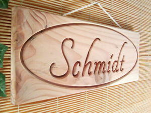 schild t rschild holz douglasie mit gravur ihr name f r haus garten t r ebay. Black Bedroom Furniture Sets. Home Design Ideas