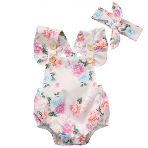 Newborn Toddler Baby Girl Clothes Floral Romper Bodysuit Jumpsuit Sunsuit Outfit