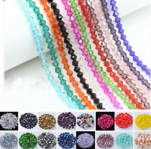 Lots-3mm-4mm-6mm-8mm-Bicone-Faceted-Crystal-Glass-Loose-Beads-Jewelry-Making-DIY