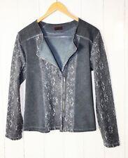 Les Freres ITALY Sweat Blazer Jacke Gr L Pailletten Spitze  Vintage Blau