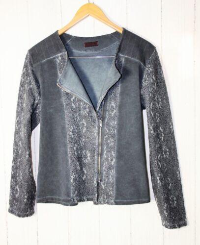 Vintage Pailletten Blau Blazer Italy Sweat L Spitze Freres Les Jacke Gr qzv40g