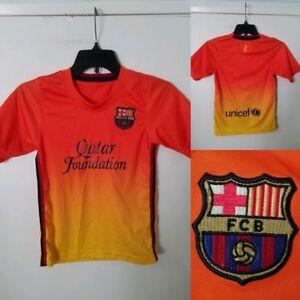 Details about FC BARCELONA Jersey Kit CHILDS KIDS M MEDIUM (5-6) ORANGE  Qatar CHAMPIONS LEAGUE