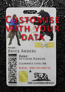 Nueva California Republic NCR Cosplay ID BADGE CARD-Fallout-Con Holograma stl1