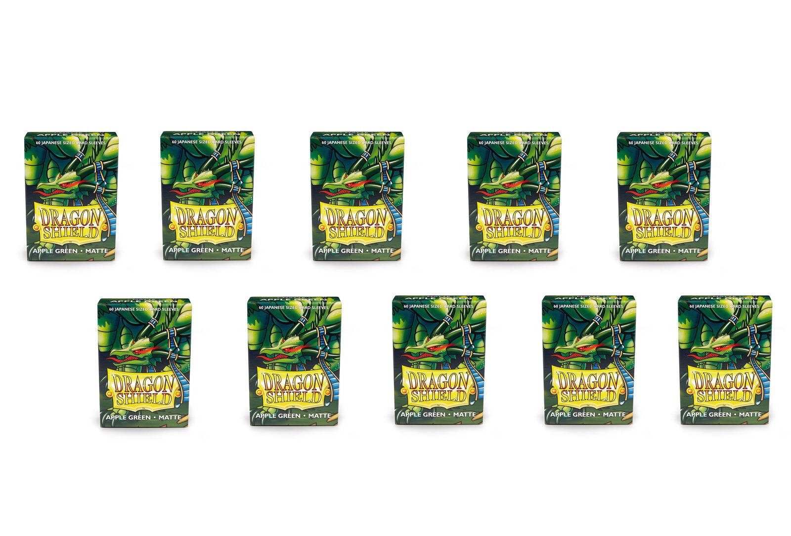 10 Packs Dragon Shield Matte Mini Japanese Apple Green 60 ct Card Sleeves Display Case