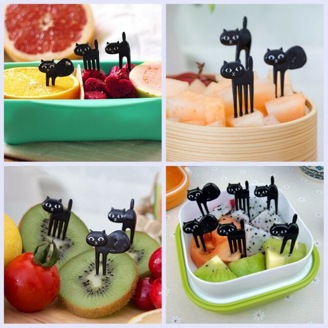 6pcs Lovely Black Cat Fruit Picks Food Forks Bento Lunch Box Accessory Decor