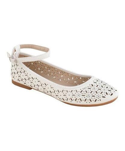 Women/'s Classic Flats laser cut rhinestone ankle strap round toe black white