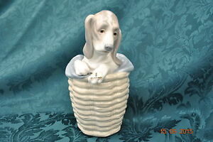 LLADRO-DOG-BASSETT-HOUND-IN-BASKET-1128-UNBOXED
