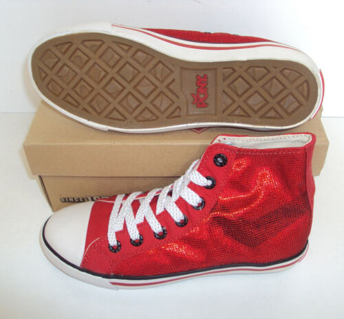 Pony High Top Trainers Ladies Womens Red Shoes Casual New UK Sizes 3-6