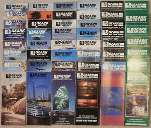 Ozark-Air-Lines-timetable-lot-nearly-every-issue-from-the-1980s-fair-condition