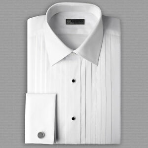 New mens white tuxedo shirt 100 cotton french cuffs 100 cotton tuxedo shirt