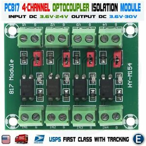 PC817 4-Channel Optocoupler Isolation Module 3.6-30V Phototransistor for Arduino