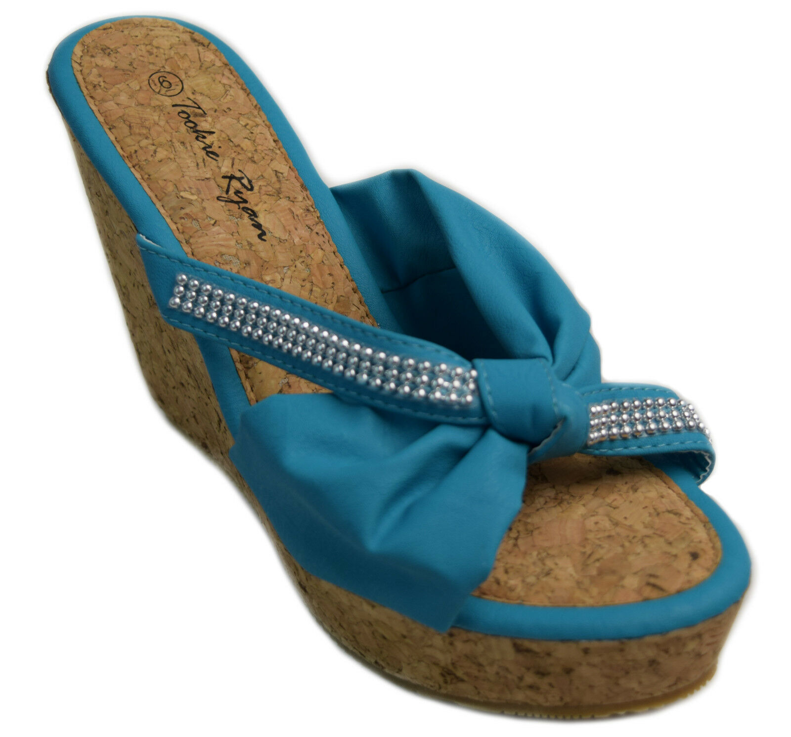 Womens Cork Wedge Sandals Turquoise Open Toe Slide Beaded shoes