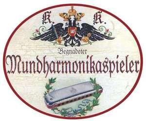 Brass Antiques Hospitable Mundharmonikapieler Nostalgieschild