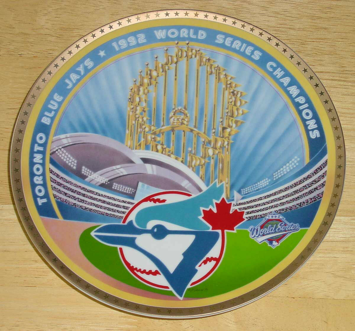 TgoldNTO blueE JAYS 1992 WORLD SERIES CHAMPIONS PLATE BY SPORTS IMPRESSIONS