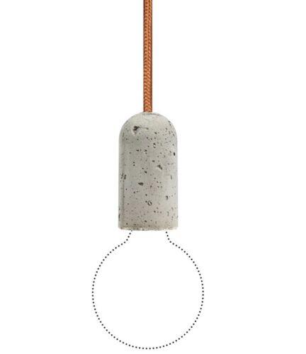 Nud base béton pendule Lampe-textile Câble 3m-cuivre-copper