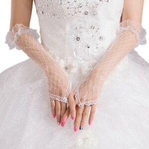 Womens-Lace-Mesh-Bridal-Gloves-Fingerless-Elbow-Length-Long-Gloves-Wedding-Party