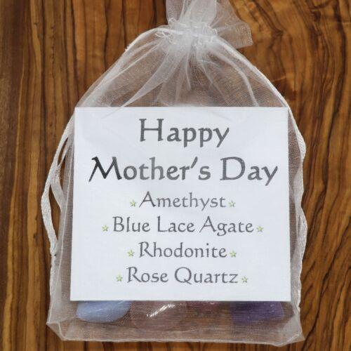Happy Mothers Day Crystal Gift Set Rose Quartz Amethyst Rhodonite Blue Agate