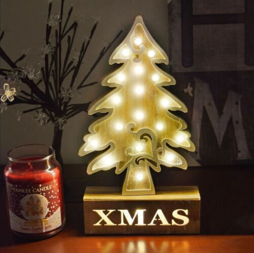 18 LED Wooden Xmas Tree Table Top Light Christmas Decor Gift Lights Lighting New