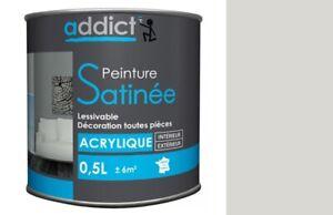 Peinture Acrylique Decoration Satin Cendre 0 5l Sans Odeur Lessivable Opacite Ebay