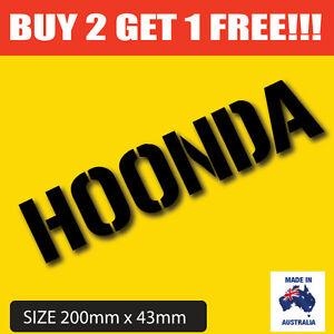 Image Is Loading Funny Car Bumper Sticker HOONDA Hoonigan Honda Decal