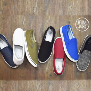 Mens-BOSTON-Slip-On-Canvas-Shoes-Pumps-Plimsolls-Trainers-Casual-Fashion-Sneaker