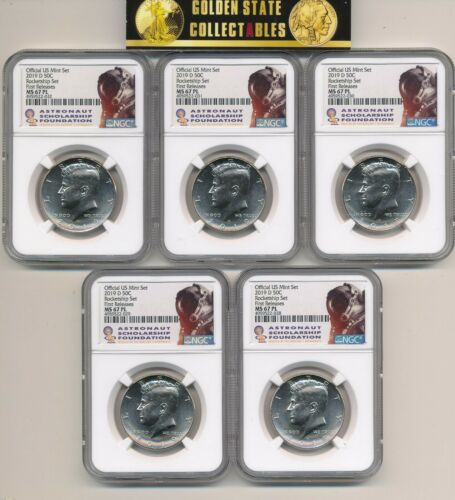 2019 D KENNEDY HALF NGC MS67 PL FR ROCKETSHIP SET COLLECTOR LOT OF 5 GIVEAWAY