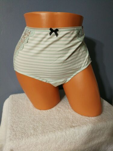 NWT LB Cacique Cotton Full Brief Lace Aqua Striped 18//20 Plus Panty Panties