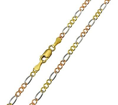 14K Solid Real Yellow White Rose 3 Color Gold Figaro Chain Necklace 2.5mm 18/""