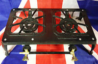 Cast Iron Double Gas Burner Boiling Ring Stove Outdoor Camping / Group Cooking
