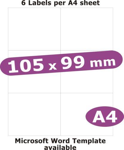 105X99MM 30 etichette MATT WHITE PAPER 5 Fogli A4 Laser Fotocopiatrice InkJet ADESIVI