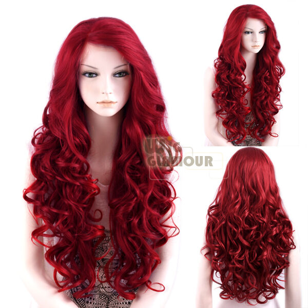 Long Curly Wavy 26 Red Lace Front Wig Heat Resistant 3 Piece Tapes