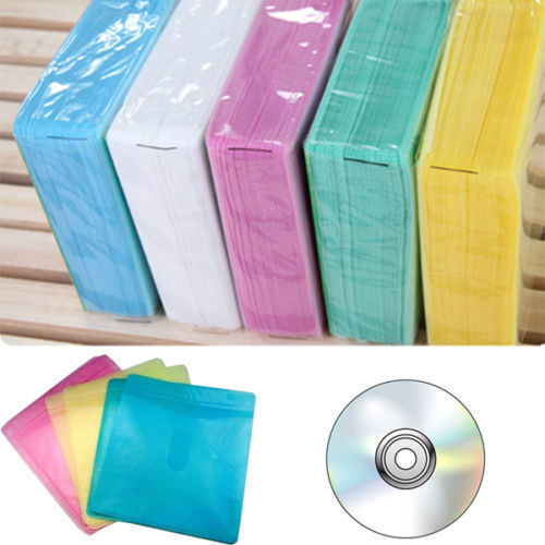 Hot Sale 100Pcs CD DVD Double Sided Cover Storage Case PP Bag Holder BLCA