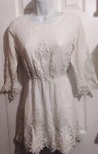 GIANNI BINI Gorgeous Summer White Boho Embroidered Dress SMALL