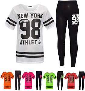 Girls Black Gold Boss Foil Outfit Top Leggings Tracksuit Age 7 8 9 10 11 12 13