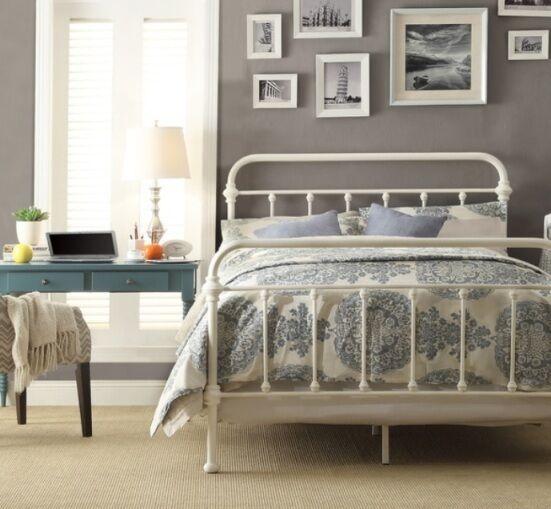 Full Antique White Victorian Iron Metal Beds Bed Frame Frames Bedroom Furniture