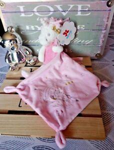 cadeau Doudou licorne lili blanche rose pois nœud doré étoiles Nicotoy Neuf