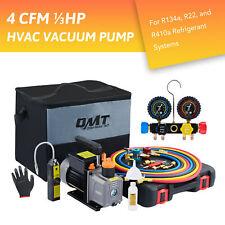 Omt 4cfm 13hp Vacuum Pump Hvac Refrigeration Auto Ac With Manifold Gauge Set Ampbag