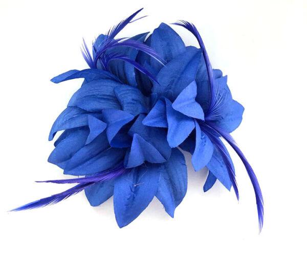 Affidabile Royal Blue Piuma Capelli Fascinator Con Becco Pezzo Matrimonio Corse Spilla Di Ascot