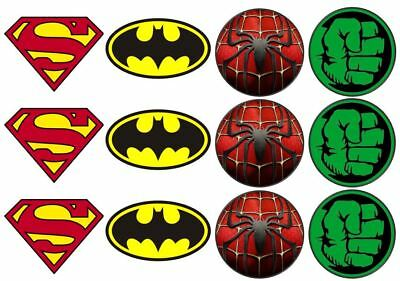 24 Superhero Theme Edible Wafer Cup Cake Toppers Various ...