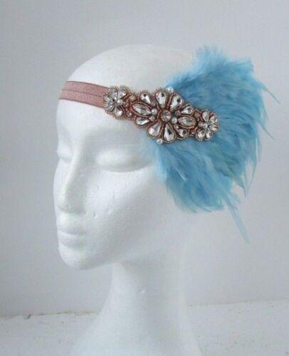 Bleu clair Or Rose Nude Plumes Coiffe 1920 S Bandeau Garçonne Gatsby 6487