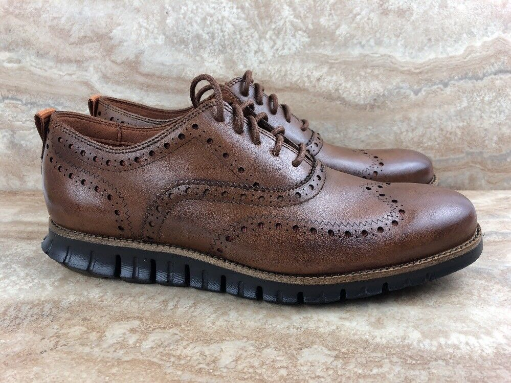 Cole Haan ZeroGrand Wingtip Oxfords Dress shoes British Tan Leather Brown