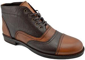 200-REACTOR-deux-tons-marron-cuir-veau-Cap-Toe-Derbies-Bottines-Hommes-Chaussures