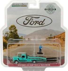 GREENLIGHT 1970 Ford F-350 Ramp Truck with Truck Driver Figure 1/64 Car 29892