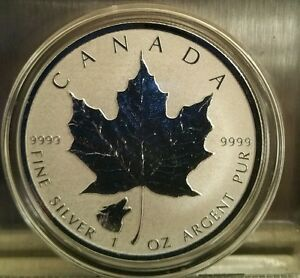 2016 1 Oz Wolf Privy Canadian Silver Maple Leaf Reverse