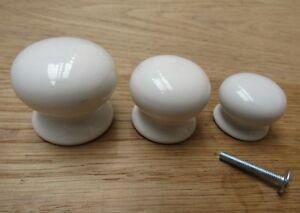 OLD-ENGLISH-WHITE-PLAIN-MUSHROOM-cabinet-cupboard-chest-drawer-knob-pull-handle