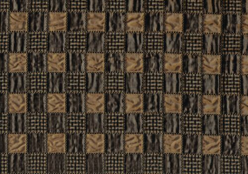 Designer Fabric Camel   Black Brown  Crinkle Squares Poly Silk Drapery